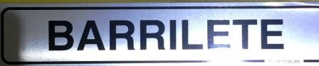 Placa Sinalização Condomínio - BARRILETE - Alumínio - Tamanho:5 x 25cm