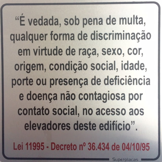 Placa Elevador Discriminação Lei 11995 15X15 Alumínio SuperPlacas