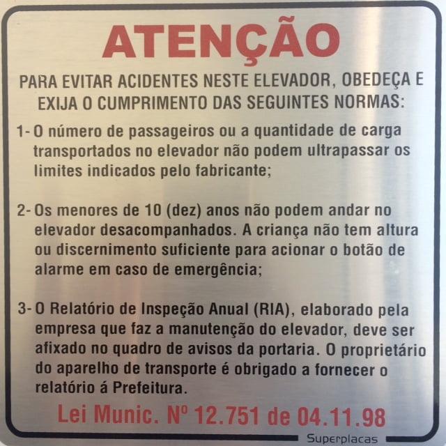Placa Elevador Atenção: Evite Acidentes 15X15 Alumínio SuperPlacas