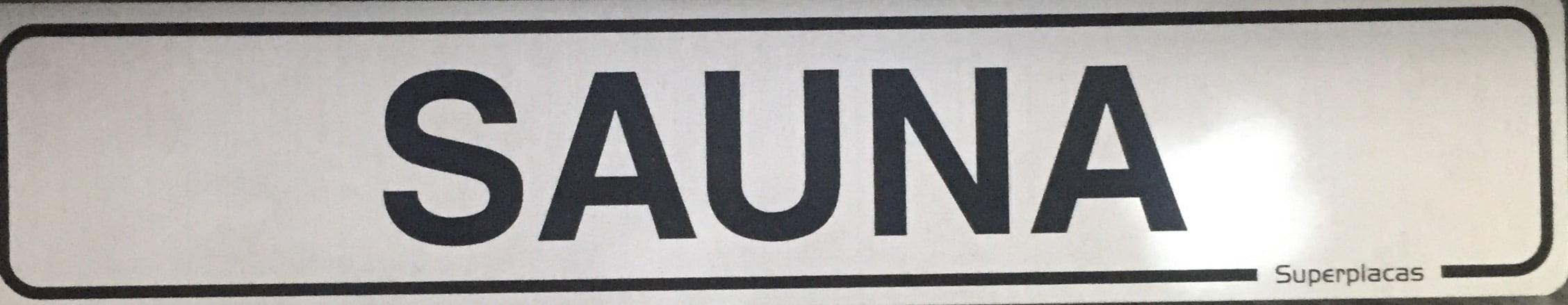 Placa Sinalização Condomínio - SAUNA - Alumínio - 5x25 cm