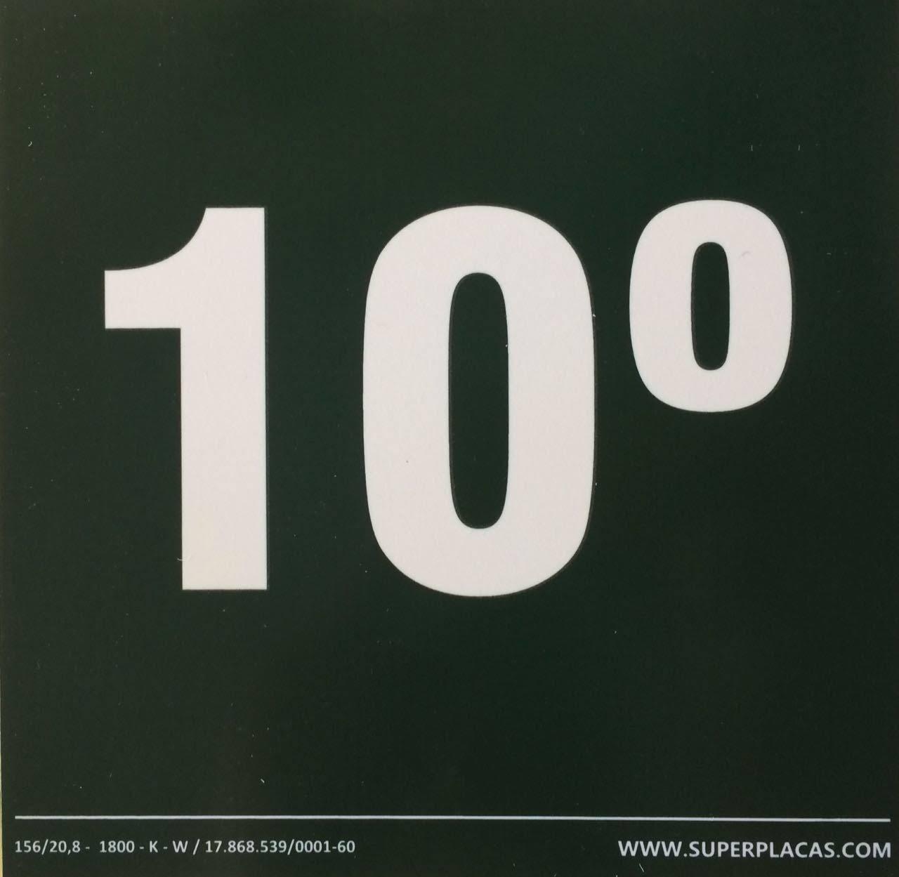 Placa Sinalização Andares 10º Andar Fotoluminescentes Certificada NBR 13434-3 15x15 Super Placas Plástico