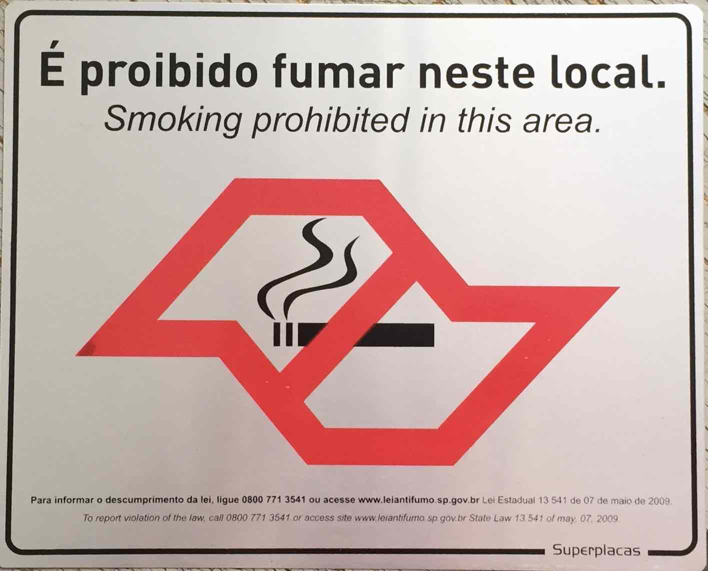 Placa Sinalização Proibido Fumar - Lei Antifumo 20x25cm - Alumínio