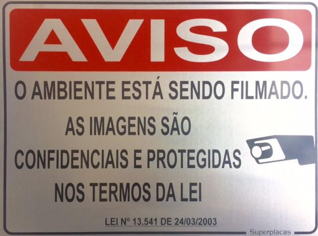 Placa Aviso: Ambiente Sendo Filmado 18x23 Alumínio SuperPlacas