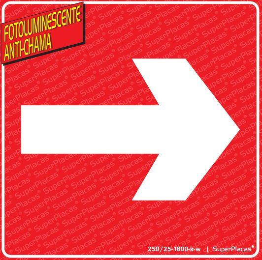 Placa Sinalização Combate Incêndio Emergência - Seta Vermelha