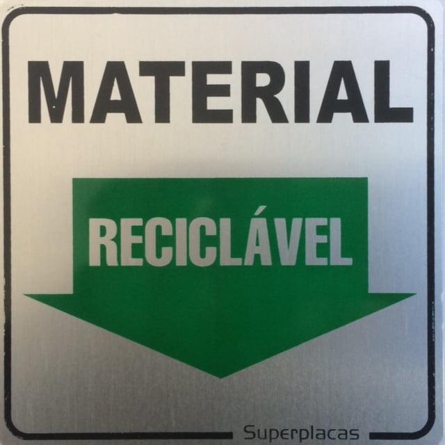Placa Sinalização Material Reciclável  15x20cm Plástico