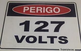 Placa Sinalização Energia Plástico Rígido Tipo: 127 volts grande