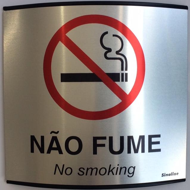 Placa Sinalização Calandrada Não Fume Alumínio 15x15 Sinalize