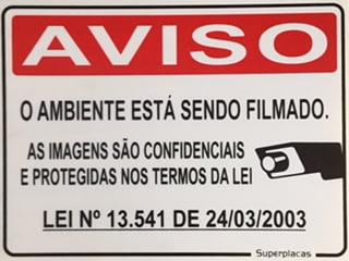 Placa Aviso: Ambiente Sendo Filmado 15x20 Plástico SuperPlacas