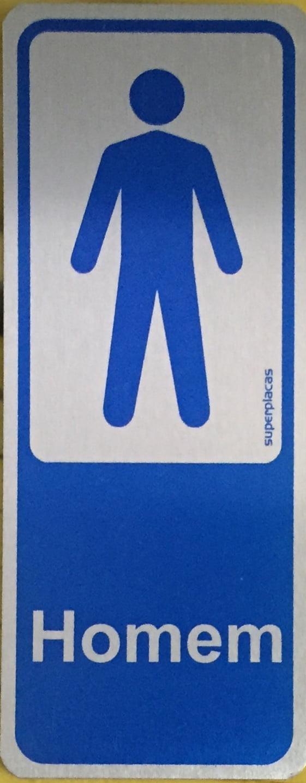 Placa Sanitário Masculino 6x15 Alumínio SuperPlacas