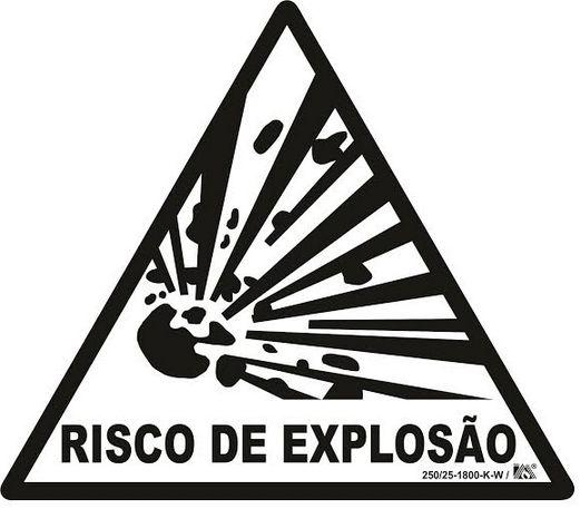 Placa Sinalização Risco de Explosão - Certificada NBR 13434-3 - Fotoluminescentes tamanho: 20x20x20  - Triangular