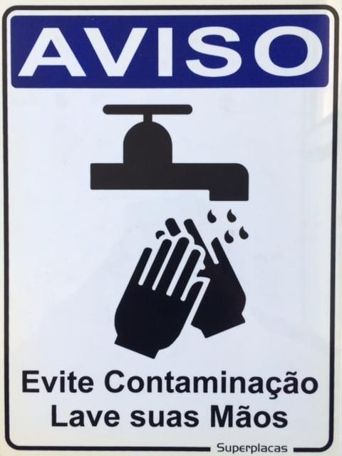 Placa Aviso: Evite Contaminação Lave as Mãos 15x20 Plástico SuperPlacas