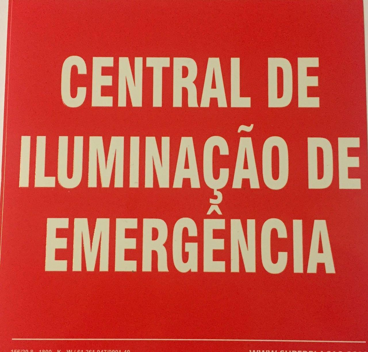 Placa Sinalização  Central de Iluminação de Emergência Fotoluminescente