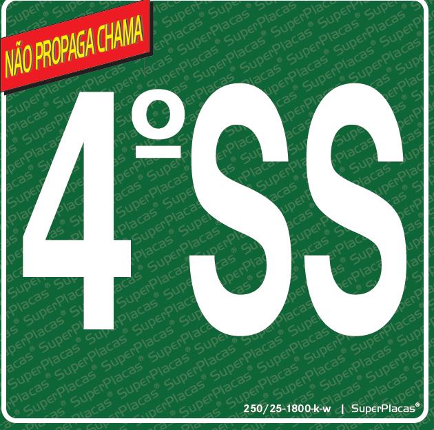 Placa Sinalização Rota de Fuga Certificadas 4 SS (4° Subsolo) NBR 13434-3