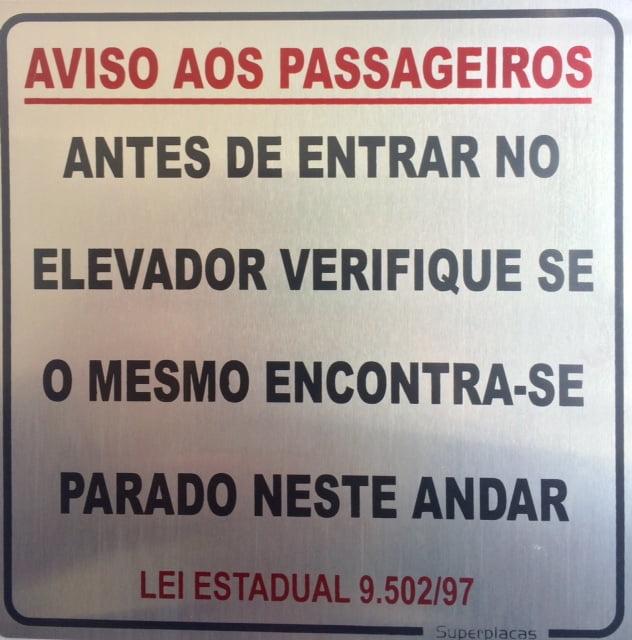 Placa Aviso Aos Passageiros Lei Estadual 9.502/97 15X15 Alumínio SuperPlacas