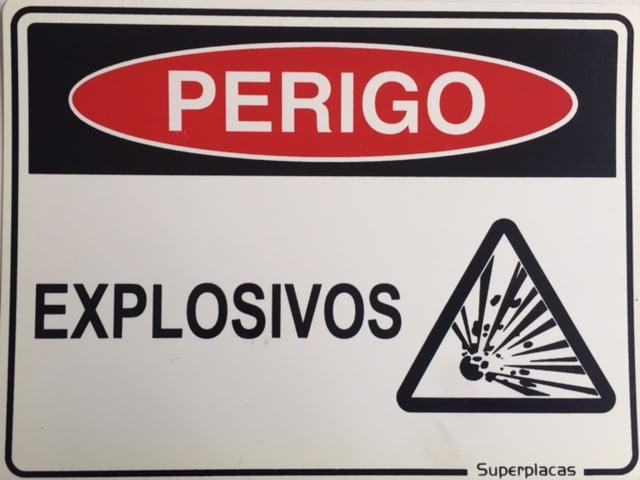 Placa Sinalização Explosivos - Plástico 15x20cm SuperPlacas