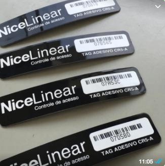 TAG Etiqueta CR4-B - Marca: NiceLinear - Tag adesiva Veicular