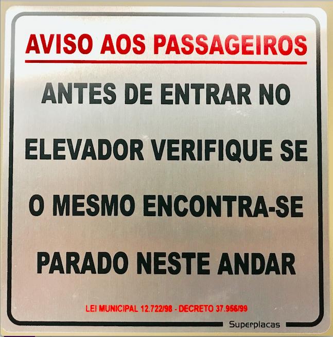 Placa Sinalização Aviso Aos Passageiros Lei Municipal 12.722/98 Decreto 37.956/99