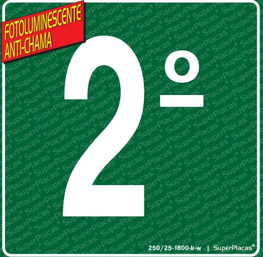 Placa 2° Andar - Fotoluminescente