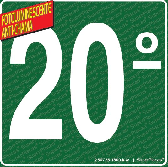 Placa 20° Andar - Fotoluminescente