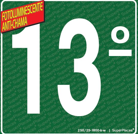 Placa 13° Andar - Fotoluminescente