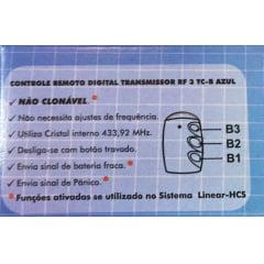 Controle Remoto Linear HCS 3  botões Azul  - Sistema AntiClonagem
