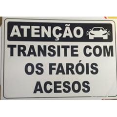 Placa Sinalização Garagem  Transite com Fárois Acesos - 30x42 Cm