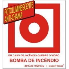 Placa Certificada Bomba Incêndio E3 - 13x14 cm