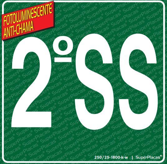 Placa de Sinalização Certificada SS2 (2° Subsolo) - Fotoluminescente