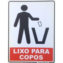 Placa Lixo Para Copos