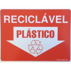 Placa Lixo Reciclável - Plástico