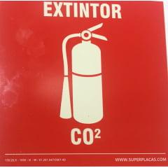 Placa Extintor Co2 Tamanho 14x14 cm