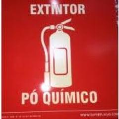 Placa Certificada Extintor Pó Químico - E5P - 14x14 cm