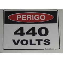 Placa Sinalização Perigo  Energia 440 Volts  - Plástico - 15x20 cm