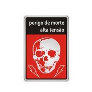 Placa Sinalização Perigo de Morte - Alumínio  - 18x23 cm