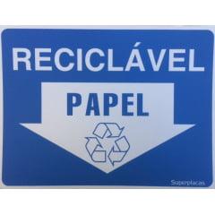 Placa Lixo Reciclável - Papel