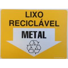 Placa Lixo Reciclável - Metal