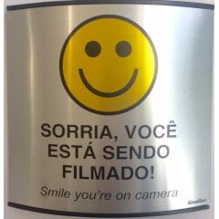 Placa Sorria, Você Está Sendo Filmado Calandrada 14x14 Alumínio SuperPlacas