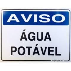 Placa Aviso: Água Potável 15x20 Plástico SuperPlacas