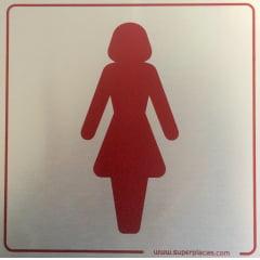 Placa Sanitário Feminino  15x15 Alumínio SuperPlacas