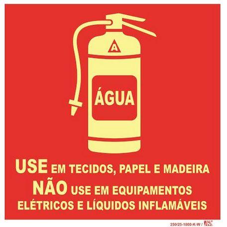 Placa Extintor H20 - Use em técidos, Papel, Madeira - Não Use Equipamentos Elétricos, Eletrônicos e inflamável