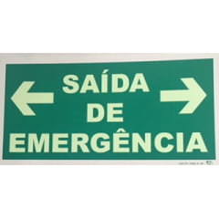 Placa de Sinalização Saída Emergência Direita e Esquerda - Fotoluminescente