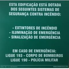 Placa M1  - Rota de Fuga -  Fotoluminescente - 30x30cm - Modelo 3 Frases