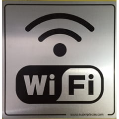 Placa Office Sinalize  Wifi  12x12 Alumínio 900AO