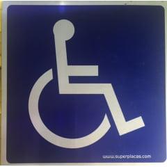 Placa Sinalização Cadeirante Alumínio Sinalize Office 12x12 cm