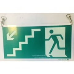 Placa Rota Fuga  Escada Descendo a Esquerda Teto