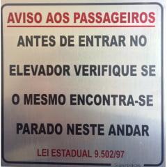 Placa Aviso Aos Passageiros Lei Estadual 9.502/97