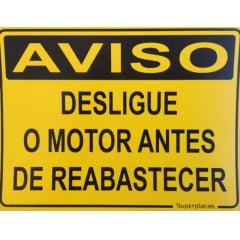 Placa Aviso: Desligue o Motor Antes de Reabastecer