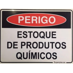 Placa Sinalização Estoque de Produtos Químicos - Plástico 15x20cm SuperPlacas
