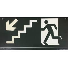 Placa Rota Fuga Teto Descendo Escada Tamanho:20x40cm