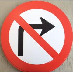 Placa Proibido Virar à Direita